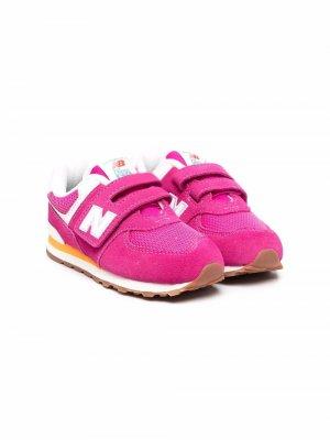 Кроссовки на липучках New Balance Kids. Цвет: розовый
