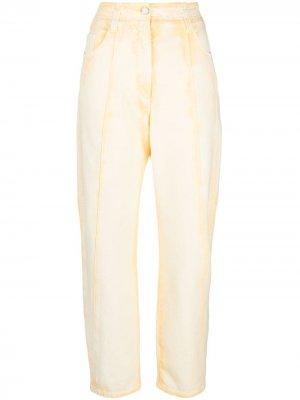 Зауженные джинсы из вареного денима Alberta Ferretti. Цвет: желтый