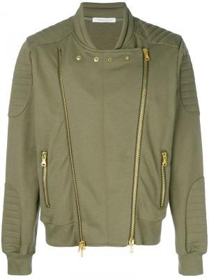 Куртка-бомбер с двумя молниями Pierre Balmain. Цвет: зеленый
