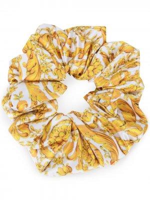 Резинка для волос с принтом Baroque Versace. Цвет: желтый