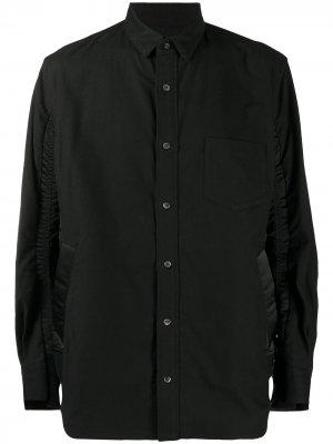 Рубашка с длинными рукавами и контрастными вставками Sacai. Цвет: черный