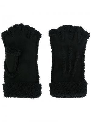 Перчатки митенки Maison Fabre. Цвет: чёрный