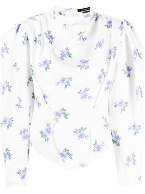 Драпированная блузка с цветочным принтом Isabel Marant. Цвет: белый