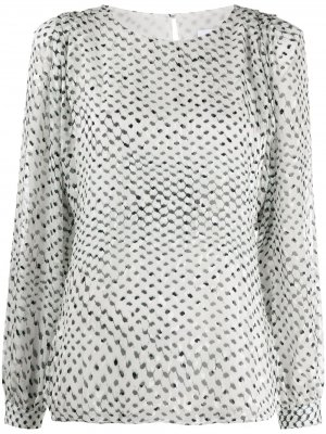 Полупрозрачная блузка Kufiya с принтом Lala Berlin. Цвет: белый