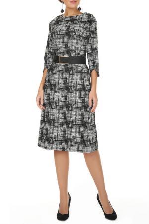 Платье с ремнем Argent. Цвет: черно-белый