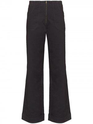Расклешенные джинсы Isabella с завышенной талией USISI SISTER. Цвет: черный