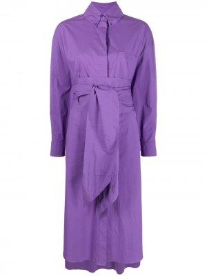 Платье-рубашка оверсайз с поясом Alexandre Vauthier. Цвет: фиолетовый