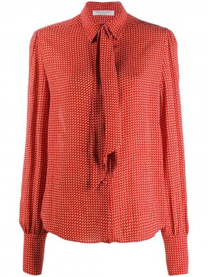 Блузка в горох с завязками на воротнике Philosophy Di Lorenzo Serafini. Цвет: красный