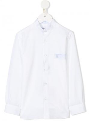 Рубашка с вышитым логотипом Stefano Ricci Kids. Цвет: белый