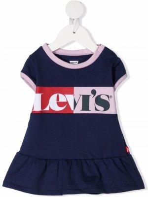Levis Kids платье мини в стиле колор-блок Levi's. Цвет: синий