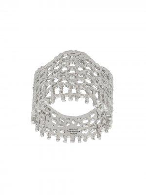 Кольцо Vintage Lace из белого золота с бриллиантами Aurelie Bidermann. Цвет: золотистый