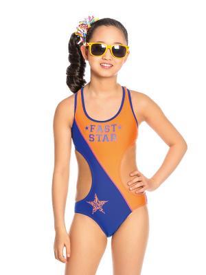 Купальник для девочек слитный Arina. Цвет: синий, оранжевый