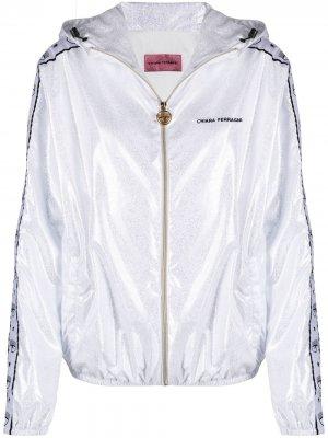 Куртка с капюшоном и логотипом Chiara Ferragni. Цвет: серебристый