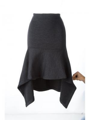 Асимметричная расклешенная юбка миди Marni. Цвет: серый