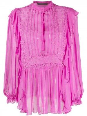 Расклешенная блузка с кружевом Alberta Ferretti. Цвет: розовый