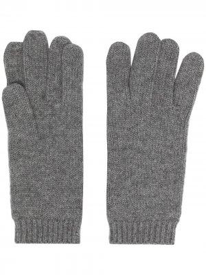 Перчатки с манжетами в рубчик Aspesi. Цвет: серый