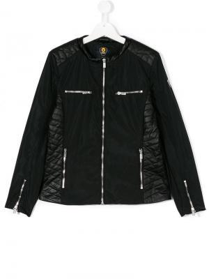 Стеганая байкерская куртка Ciesse Piumini Junior. Цвет: черный