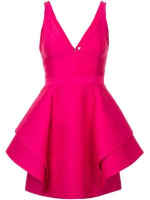Короткое платье с оборками Halston Heritage. Цвет: розовый