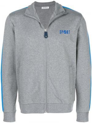 Zip front printed sweatshirt Dirk Bikkembergs. Цвет: серый