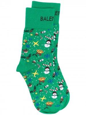 Носки с принтом Christmas Balenciaga. Цвет: зеленый