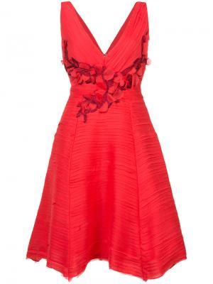 Плиссированное коктейльное платье Marchesa Notte. Цвет: красный