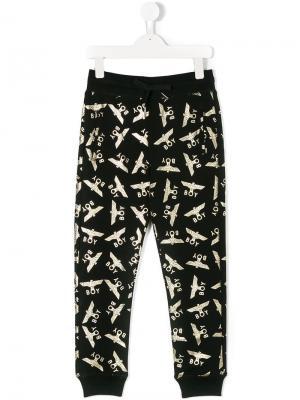 Спортивные брюки с логотипа металлическим блеском Boy London Kids. Цвет: черный