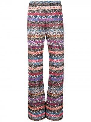 Расклешенные трикотажные брюки в полоску M Missoni. Цвет: красный