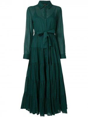 Расклешенное платье-рубашка Mes Demoiselles. Цвет: зеленый
