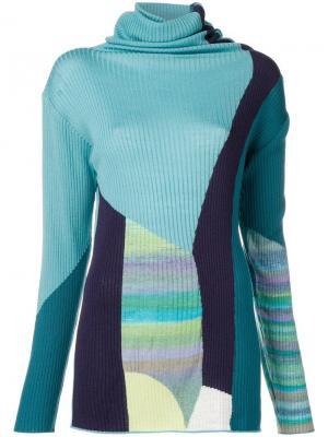 Roll neck colour block sweater Tsumori Chisato. Цвет: синий