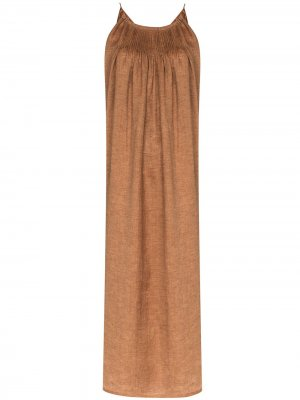 Платье миди U-образным вырезом Missing You Already. Цвет: коричневый