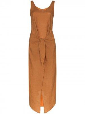 Платье миди с U-образным вырезом и завязками Anemos. Цвет: оранжевый