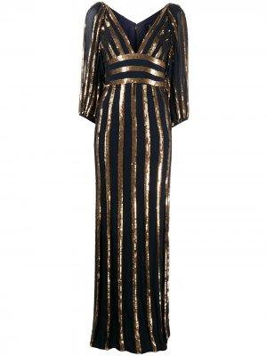 Платье в полоску с пайетками Jenny Packham. Цвет: синий