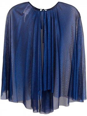 Полупрозрачная блузка-кейп Maria Lucia Hohan. Цвет: синий