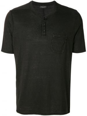 Футболка с горловиной на пуговицах карманом Roberto Collina. Цвет: черный