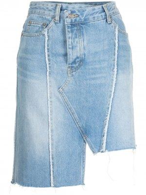 Джинсовая юбка с бахромой SJYP. Цвет: синий