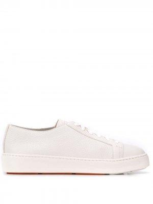 Кеды на шнуровке Santoni. Цвет: белый