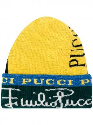 Шапка бини с логотипом вязки интарсия Emilio Pucci. Цвет: желтый