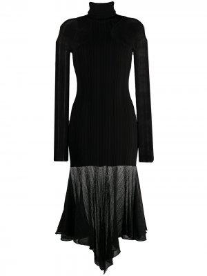 Трикотажное платье с длинными рукавами Mugler. Цвет: черный