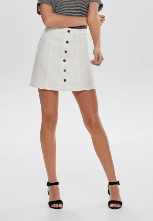 Юбка джинсовая Jacqueline de Yong. Цвет: белый