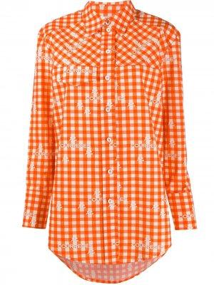Рубашка в клетку с логотипом Courrèges. Цвет: оранжевый