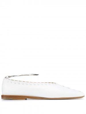 Балетки с квадратным носком Jil Sander. Цвет: белый