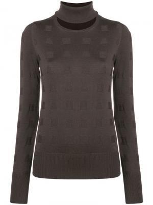 Split neck sweater Chalayan. Цвет: коричневый