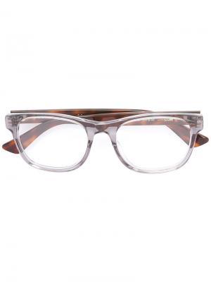 Очки с квадратной оправой Gucci Eyewear. Цвет: серый