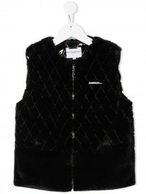 Стеганый жилет на молнии Givenchy Kids. Цвет: черный