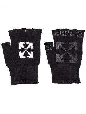 Перчатки-митенки с логотипом Off-White. Цвет: черный