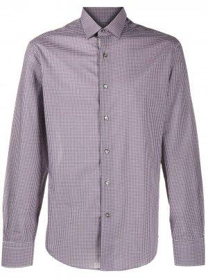 Рубашка в мелкую клетку LANVIN. Цвет: серый