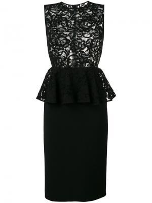 Платье миди с баской Saint Laurent. Цвет: черный