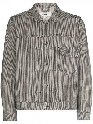 Куртка в тонкую полоску YMC. Цвет: синий