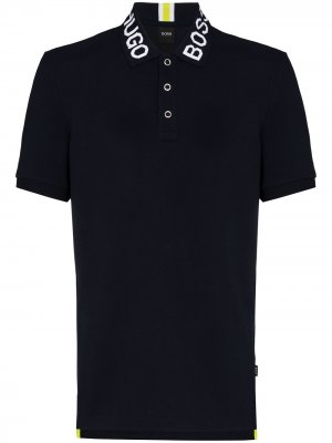 Рубашка поло Parlay с логотипом BOSS. Цвет: синий