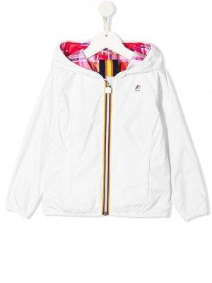 Двусторонняя куртка с логотипом K Way Kids. Цвет: белый